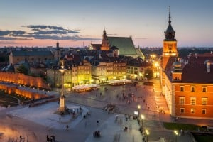 Night Panorama of Royal Castle and Old Town in Warsaw, Poland